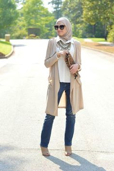 long maxi cardigan, Winter hijab street styles by leena Asaad http://www.justtrendygirls.com/winter-hijab-street-styles-by-leena-asaad/