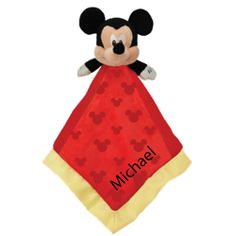 Disney Mickey Mouse Blankie, crinkle ears, silk backing. Personalize it for an extra special keepsake. $17.00 www.twobluepeas.com