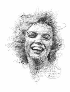 """Portrait Drawing Marilyn Monroe by Vince Low - Vince Low has become internet-famous for his """"scribble"""" style of portraiture. Here are 12 examples you've got to see. Life Drawing, Drawing Sketches, Pencil Drawings, Painting & Drawing, Art Drawings, Drawing Ideas, Portrait Sketches, Pencil Portrait, Portrait Art"""