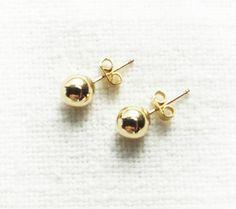 Gold Stud Earrings. gold filled earrings ball by MaayanLoveBeads, $25.00