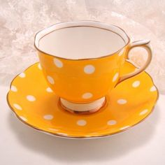 ~ Vintage Royal Albert Yellow Polka Dot Cup and Saucer...