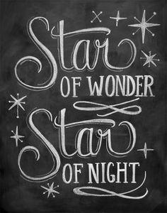 Star of Wonder - 11 x 14 Print - Chalkboard Art - Holiday Chalkboard Print - Chalk Art. $25.00, via Etsy.