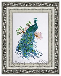 Machine Embroidery Design Indian peacock on the tree  3 sizes