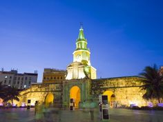 Old Town City Wall and Puerto Del Reloj at Night, UNESCO World Heritage Site, Cartagena, Colombia