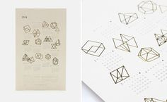 letterpress 2014 Prisms Calendar that displays the year of dates amongst gold foiled geometric shapes