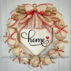 Check out this item in my Etsy shop https://www.etsy.com/listing/506350912/baseball-wreath-with-burlap-bow-made