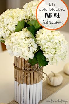 DIY Dipped Twig Vase - Perfect for Fall Decor, Wedding Centerpiece, or just anytime! Via View From The Fridge