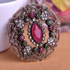 Vintage Jewelry Zirconia Brooches Prong Setting Crystal Brooch Turkish Hat  Accessories Large Safety Pin Boutique Gift eb3fbdb873f2