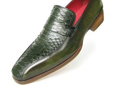 PAUL PARKMAN ® The Art of Handcrafted Men's Footwear - Paul Parkman Men's Loafer Green Genuine Python with Green Handpainted Calfskin.