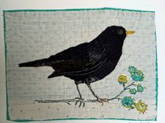 Unframed appliqued Blackbird with embroidery on by MandyPattullo