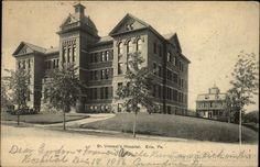 St. Vincent's Hospital Erie, PA postmark 1906
