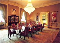 the royal palace, interior - the king and queen's private dining room, Andy Warhol's portrait of the queen hanging above the china cabinet