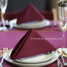 Burgundy Napkins 20 X Inches Wedding Whole Cloth Table