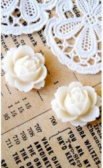 Lot de 2 Fleurs 16 mm couleur blanc pour bijoux et scrapbooking