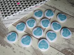 More of those teal wedding badges. These are so cute. #badges #buttons