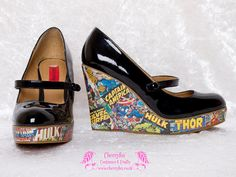 Comic Book Wedges, Vintage Marvel Covers, Black Patent, Size 6, 39, 8.5, Pop Art, Geek, Nerd, Goth, Lolita, Kawaii, Rockabilly, Heels, Hulk