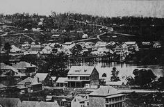 Early view of Brisbane, ca. 1866 - View of the township of Brisbane, Queensland, around Street in foreground identified as George Street. Brisbane River runs through centre of image. Brisbane River, Brisbane Gold Coast, Brisbane Cbd, Brisbane Queensland, Queensland Australia, Western Australia, City Of Adelaide, Ocean Photography, Photography Tips