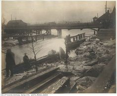 Looking south-east to the Queen Street East bridge crossing the Don River in 1899.
