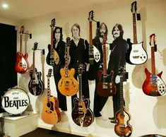 The Beatles' guitars, Nice collection (the Hofner should be a lefty) The Ric 425 and the (far right), models are pretty rare. The Beatles Guitars Guitar Guy, Beatles Guitar, Beatles Love, Les Beatles, Beatles Art, Guitar Tips, Music Guitar, Beatles Funny, Beatles Photos