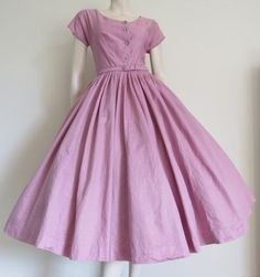 Round She Goes - Market Place - GORGEOUS Nelly Don Vintage 50's Dusty Rose / Mauve Party Dress