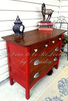 ruby red antique oak dresser, painted furniture by Refurbished Furniture, Paint Furniture, Repurposed Furniture, Furniture Projects, Furniture Making, Furniture Makeover, Vintage Furniture, Cool Furniture, Modern Furniture
