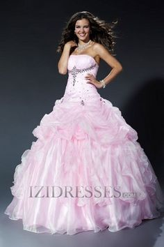 Ball Gown Strapless Organza Quinceanera Dresses