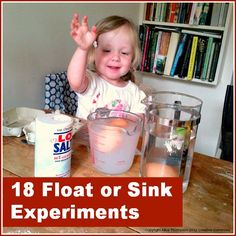 18 float or sink experiments for early years discovery from Anema Anema Boven make lists . Science Activities For Kids, Cool Science Experiments, Kindergarten Science, Science Classroom, Science Lessons, Teaching Science, Science Projects, Toddler Activities, Learning Activities