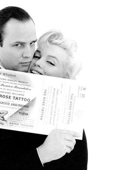 Marilyn Monroe and Marlon Brando photographed by Milton Greene for an Actor's Studio Rose Tattoo Benefit, December 12, 1955.