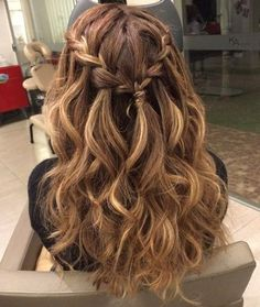 Braided Curly Half Updo For Long Hair