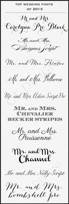 CT-Designs Calligraphy and Wedding Stationery: Fonts