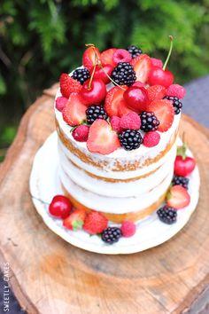 Naked cake topped with fresh fruit #recipe