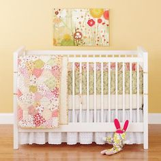 Baby Crib Bedding: Baby Crib Yellow and Pink Floral Print Patchwork Bedding in Crib Bedding