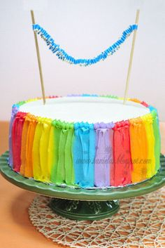 Hanielas: Celebration Cakes - love this.  Looks like ribbons all down the side of the cake.