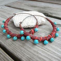 Silk Road Gypsy Hoop Earrings Large Blood Orange by GypsyIntent, $38.00