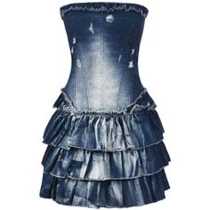 Frayed Denim Ra Ra Boob Tube Dress ($19) ❤ liked on Polyvore featuring dresses, vestidos, vestiti, robe, denim dresses, blue tube dress, denim tube dress, tube dress and boob dress