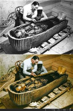 Carter and a worker examine the solid gold innermost sarcophagus of King Tut, shown within a gilded, laminated wood coffin of different colored glass. The Tomb of Tutankhamen Valley of the Kings, West Thebes. Photographed by Harry Burton Ancient Egyptian Artifacts, Ancient History, King Tut Tomb, The Boy King, Colorized Photos, Avan Jogia, Valley Of The Kings, Ancient Mysteries, Ancient Civilizations