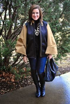 A cape, black sweater, skinny jeans, and over-the-knee boots. A perfect rain look! http://akstylemyway.blogspot.com/