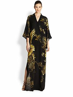 Roberto Cavalli Printed Silk Kimono Gown 3080.00   WAY more than my wedding dress… If anyone sees this at an off5th by next Saturday, holla!