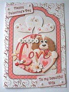 And They Called It Puppy Love Tag Card on Craftsuprint designed by June Harrop - made by Ruth Murphy - Created some additional layers and a couple of larger sentiment tags then printed out onto good quality card and cut out the various elements. Covered my card blank with Sue Way's love heart doodles backing paper (cup272487_38) then added the main image using DST. Added the layers with 1mm foam pads. Finished with small white pearl hearts on my sentiment tags, a gold pearl to the centre of…