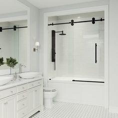x Hinged Frameless Shower Door – Diy Bathroom İdeas Bathtub Shower Combo, Bathroom Tub Shower, Shower With Tub, Condo Bathroom, Bathroom Fixtures, Home Depot Bathroom, Funny Bathroom, Bath Tubs, Washroom
