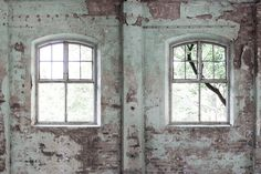 This may be the last image caught of this magnificent inner façade – the walls and floor almost caved in when shooting this photograph. The true-to-size windows offer light and a view where there was previously just a plain wall. Perspective, Designer Wallpaper, Architecture, Wall Murals, Rebel, Facade, Photo Wall, Flooring, Walls