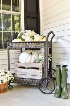 This year's fall porch is a beautiful black and white theme with white pumpkins and white mums. #fallinspiration #falldecor Autumn Decorating, Porch Decorating, Decorating Ideas, Fall Home Decor, Autumn Home, Outdoor Bar Cart, Porch Steps, Front Steps, Porch Makeover