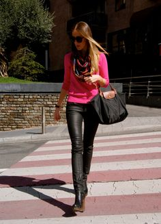 pink sweater and leather leggings..need this outfit
