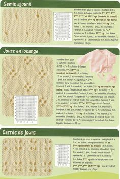 11 mailles ajourées Knitting Stiches, Lace Knitting, Crochet Yarn, Crochet Stitches, Knitting Patterns, Crochet Instructions, Knitted Blankets, Le Point, Ainsi