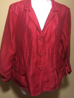 CHICO's SIZE 2 Pink Jacket Sheer button down coat top BLOUSE SHIRT #Chicos #BasicJacket