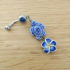 Tropical Turtle Flower Belly Button Ring Brand NEW! 14 Gauge Surgical Steel. Ships fast :) Jewelry Rings