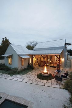 fire pit and covered porch