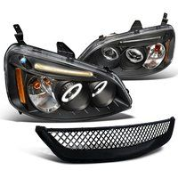 Cheap Honda Civic Dx Ex Black Led Halo Projector Headlights Black Grille sale