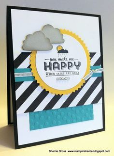 "Stampin Sunshine: Mojo Monday 329 Card Details Stamp Set:  See Ya Later (Sale-a-bration) Paper:  Kaleidoscope DSP, Crushed Curry, Bermuda Bay, Basic Black, Smoky Slate, and Whisper White Ink:  Staz'On Black, Crushed Curry, and Smoky Slate Tools:  Starburst framelit, Cupcake Builder Punch (**CLOUDS), Circles Framelits, Decorative Dots Texture Folder(Sale-a-bration) Accessories:  Designer Rhinestones, Silver 1/8"" Ribbon"