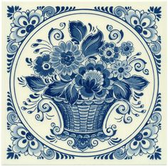 Made in Holland Love Blue, Blue And White, Delft Tiles, Art Populaire, Flower Basket, White Porcelain, Art Pictures, Folk Art, Monochrome